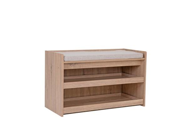 Happy Home Schuhbank Holz mit grauem Sitzkissen