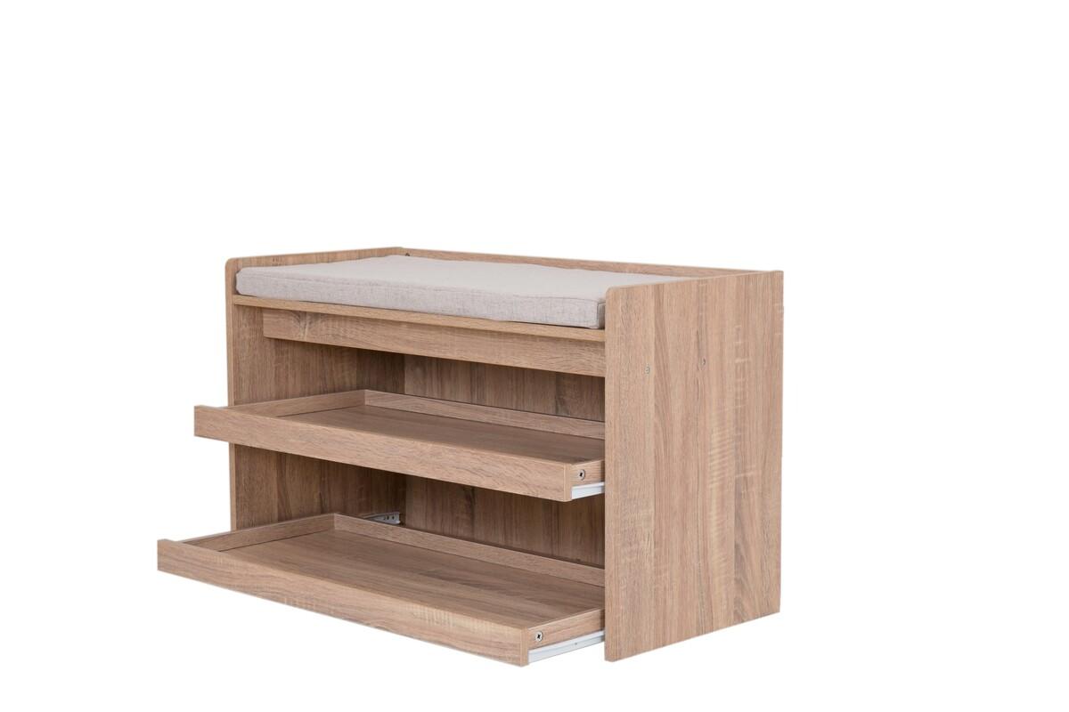 Bild 3 von Happy Home Schuhbank Holz mit grauem Sitzkissen