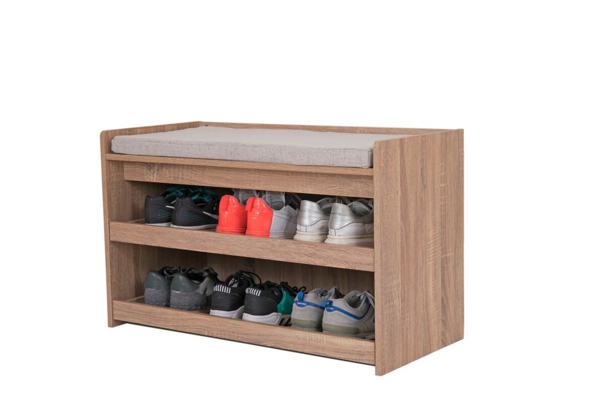 Bild 5 von Happy Home Schuhbank Holz mit grauem Sitzkissen