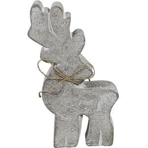 Dekofigur Rentier 22,5 cm aus Zement mit Schleife