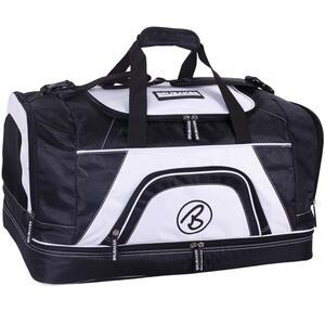 Brubaker Big Base XXL Sporttasche 90 L mit großem Nassfach als Bodenfach und Schuhfach Schwarz Weiß