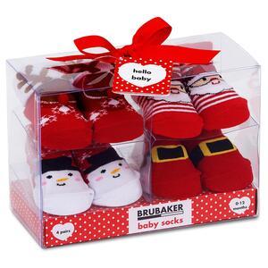 Brubaker 4 Paar Babysocken Mädchen Jungen 0-12 Monate Weihnachten