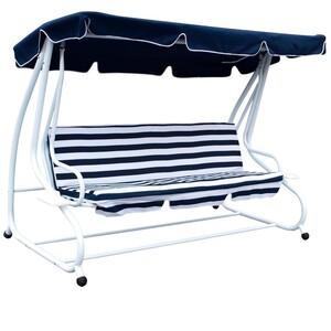 Hollywoodschaukel 4-Sitzer Miami 232x120x164cm weiss/blau 240Kg Gartenschaukel