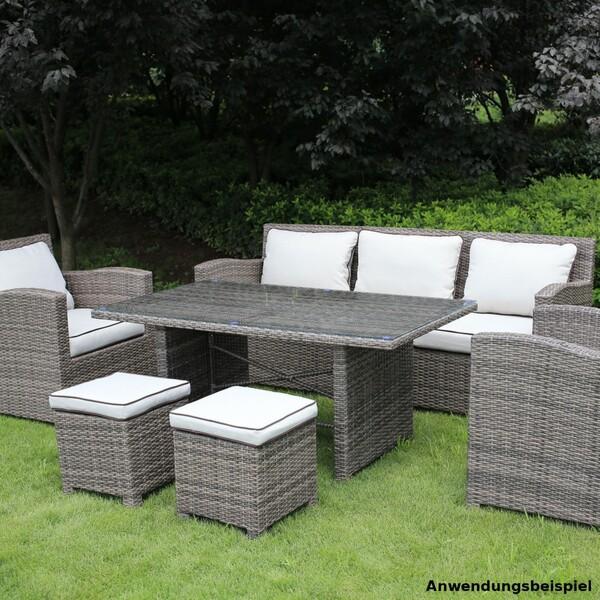 Gartensitzgruppe Lacona 7-Sitzer Polyrattan grau mit hellen Polstern