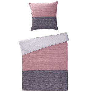 Biber-Bettwäsche Quartz (135x200, rosa-grau)