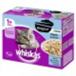 Whiskas 1+ Ragout in Gelee Fischauswahl Katzenfutter nass Multipack 12x 85 g