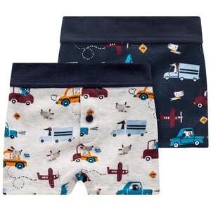 2 Baby Boxer mit Autos allover