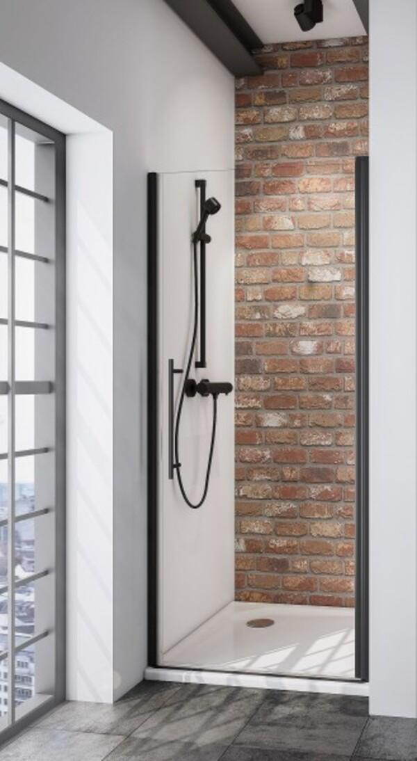 Schulte Drehtür Nische Black Style Alexa Style 2.0 ,  80 x 192 cm , inkl. fixil-Beschichtung
