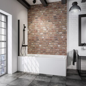 Schulte Komfort Badewannefaltwand Black Style 1-teilig ,  800 mm x 1400 mm, klar, inkl. fixil-Beschichtung
