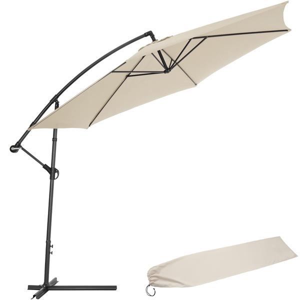 Sonnenschirm Ampelschirm Ø 350cm mit Schutzhülle beige
