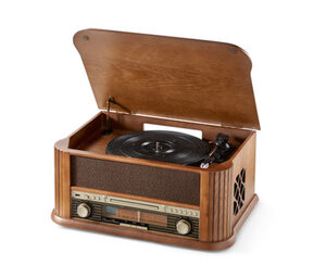 Retro-Stereo-Anlage Lenco TCD-2500 mit Plattenspieler, CD-Player und FM-Radio
