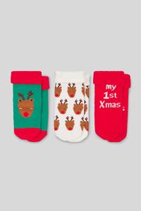 Baby-Weihnachtssocken - 3 Paar