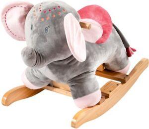 Schaukeltier Elefant grau/pink Exklusiv