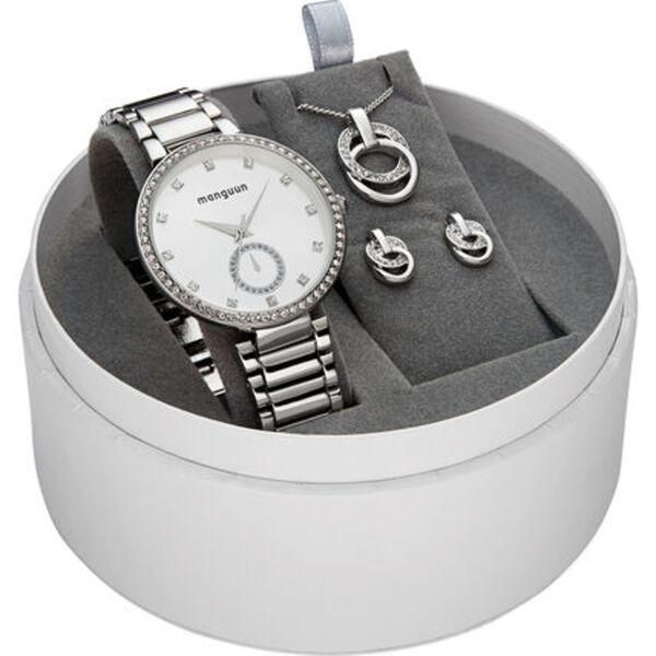 manguun Damen Geschenk-Set aus Uhr, Kette und Ohrsteckern