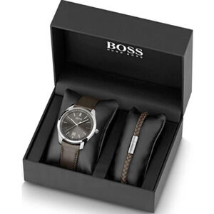 "BOSS Watches Herrenuhr und Armband ""1570083"", braun"