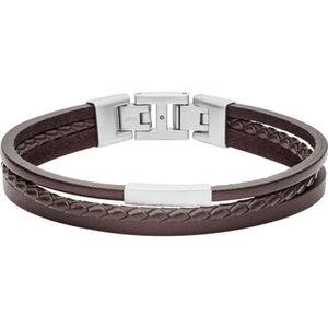 "Fossil Herren Armband Vintage Casual ""JF03323040"", Leder/Edelstahl, braun, keine Angabe"