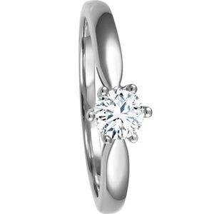 Moncara Damen Ring, 585er Weißgold mit Diamant, 54