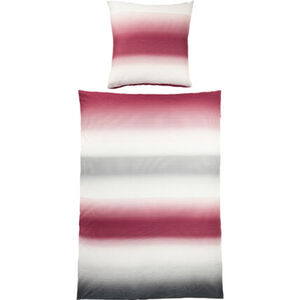 Irisette Satin Bettwäsche Querstreifen, 135x200 cm, weiß/pink, cm