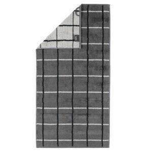 Cawö Handtuch Noblesse Square, 50 x 100 cm, anthrazit, anthrazit/weiß, 050x100 cm