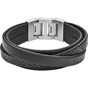 "Fossil Herren Armband Vintage Casual ""JF02998040"", Leder, schwarz, keine Angabe"