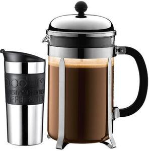 Bodum Kaffeebereiter Chambord + Travel-Mug, schwarz