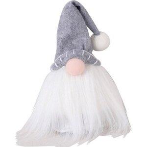 Deko-Figur Wichtel Stoff mit grauer Mütze klein