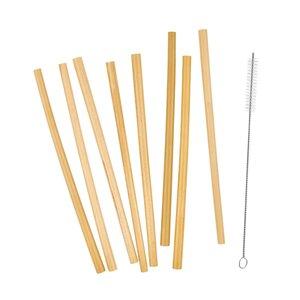 BAMBOO LOUNGE Bambus-Trinkhalme mit Bürste 9er-Set