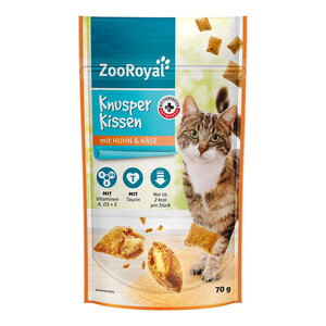 18 x 70g ZooRoyal Knusperkissen Huhn & Käse (Multipack)