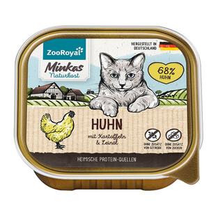 16 x 100g ZooRoyal Minkas Naturkost Adult Huhn mit Kartoffeln & Leinöl (Multipack)