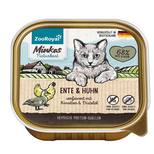 16 x 100g ZooRoyal Minkas Naturkost Adult Ente & Huhn verfeinert mit Karotten & Distelöl (Multipack)