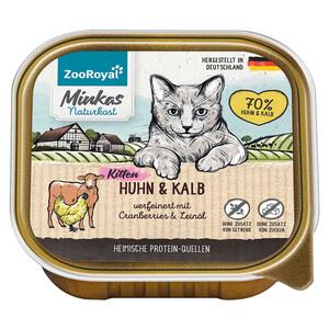 16 x 100g ZooRoyal Minkas Naturkost Kitten Huhn & Kalb verfeinert mit Cranberries & Leinöl (Multipac