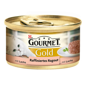 12 x 85g Gourmet Katzenfutter Gold Raffiniertes Ragout Lachs (Multipack)