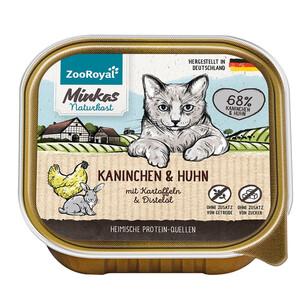 16 x 100g ZooRoyal Minkas Naturkost Adult Kaninchen & Huhn mit Kartoffel & Distelöl (Multipack)