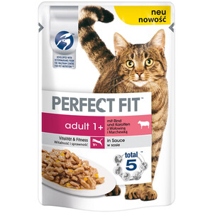 12 x 85g Perfect Fit Katzenfutter Adult mit Rind & Karotten (Multipack)