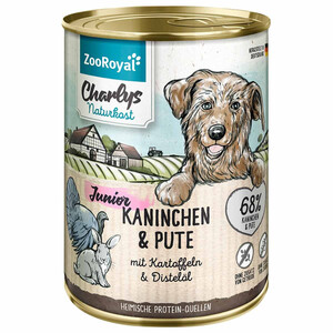 6 x 400g ZooRoyal Charlys Naturkost Junior Kaninchen & Pute mit Kartoffeln & Distelöl (Multipack)