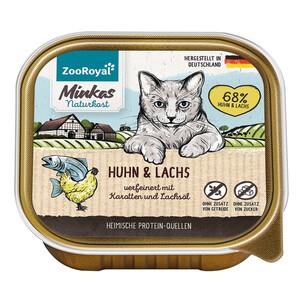 16 x 100g ZooRoyal Minkas Naturkost Adult Huhn & Lachs verfeinert mit Karotten & Lachsöl (Multipack)