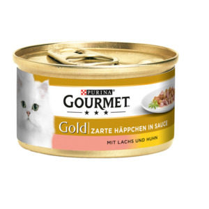 12 x 85g Gourmet Gold Zarte Häppchen Lachs & Huhn (Multipack)
