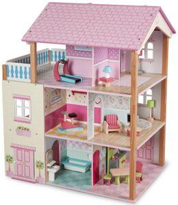 Holz-Puppenhaus 3-stöckig mit Möbeln