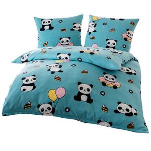"Dreamtex Fleece Bettwäsche ""Panda"", ca. 135 x 200 cm - Jade"