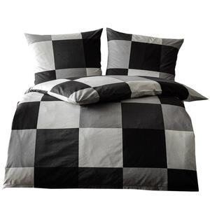 """Dreamtex Edel-Renforcé Bettwäsche """"Black & White"""", ca. 135 x 200 cm - Squares"""