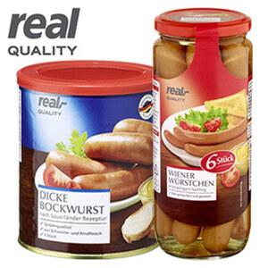 dicke bockwurstWiener Würstchen, Frankfurter Würstchen oder Geflügelwürstchen jede 6-Stück = 250-g-Glas