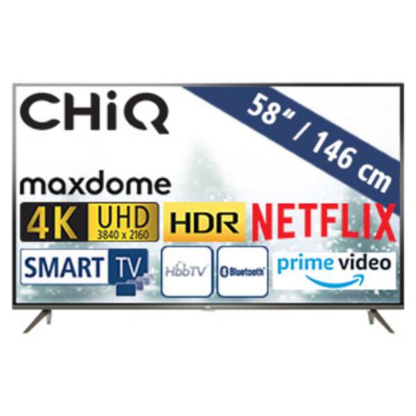 U58G7N • 4 x HDM, 2 x USB, CI+ • geeignet für Kabel-, Sat- und DVB-T2-Empfang • Maße: H 75,3 x B 128,9 x T 7,1 cm • Energie-Effizienz A (Spektrum A+++ bis D)