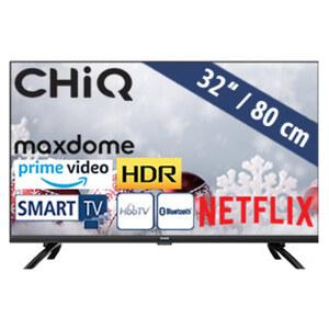 L32H7N • HD-TV • 2 x HDMI, USB, CI+ • geeignet für Kabel-, Sat- und DVB-T2-Empfang • Maße: H 42,5 x B 72,4 x T 8,8 cm • Energie-Effizienz A+ (Spektrum A+++ bis D)