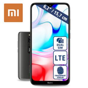 Smartphone Redmi 8 (C31) · Dual-Rückkamera (12 MP/2 MP) · Frontkamera (8 MP) · 3-GB-RAM, 32-GB-interner-Speicher · microSD™-Slot bia zu 512-GB · nanoSIM · Android™ 9.0