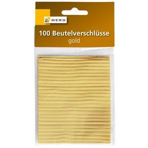 Beutelverschlüsse 8 cm goldfarben 100 Stück