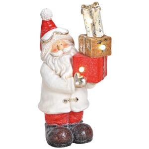 Dekofigur Nikolaus beflockt mit LED Beleuchtung
