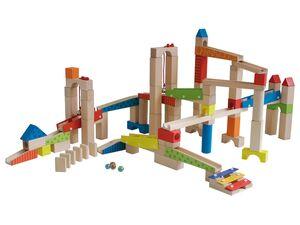 roba Kugelbahn, Kinderspielzeug, 20 Glasmurmeln, 80 Bausteinen, ab 3 Jahren, aus Holz