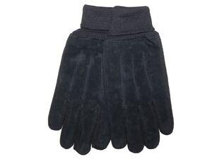 Damen oder Herren Lederhandschuhe - Herren Strick-/Leder-Handschuh, schwarz, Gr. 8 - 9
