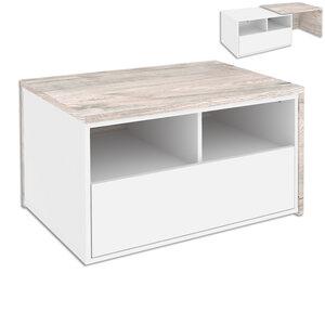 Couchtisch - weiß matt-Sandeiche - 80-140 cm breit