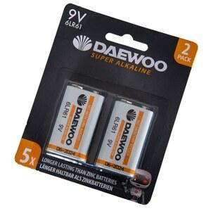 Daewoo - Batterie Alkaline 9V, 2 Pack